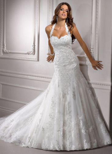 GEORGE BRIDE Removable Lace Strap Chapel Train Wedding Dress