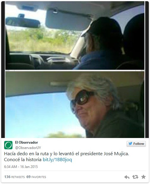 poorest president gives hitchhiker a lift