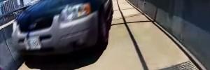 Watch SUV Drive Down Norfolk's Pedestrian Access Bridge and Strike Bike