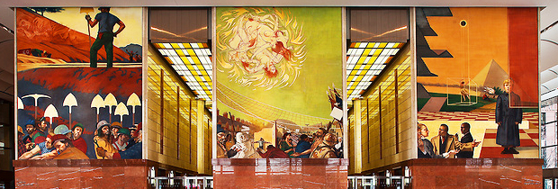Charlotte NC - Founders Hall lobby with frescos by world famous artist Ben Long