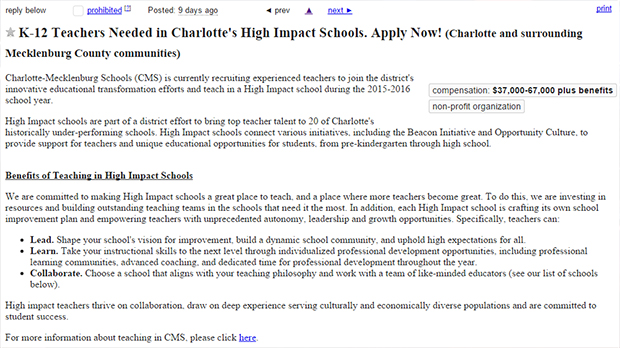 cms teachers on craigslist