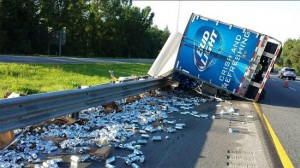beer spills onto highway near tampa