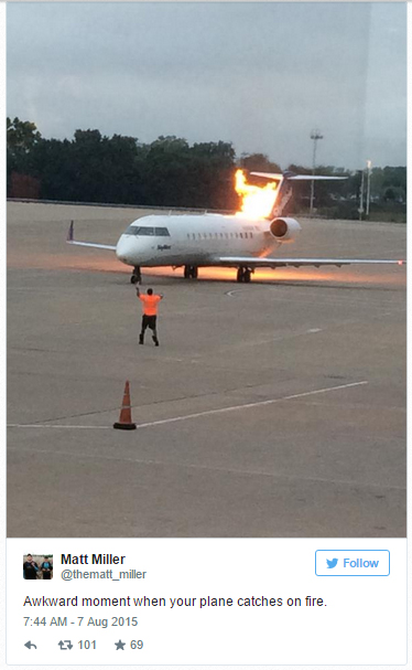 nashville plane catches on fire
