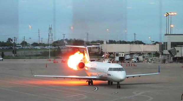 plane on fire in Nashville